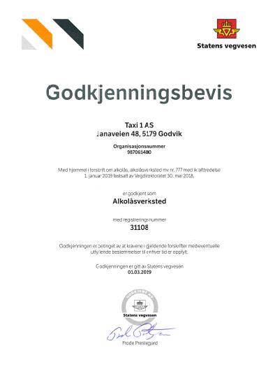 7f3b837c Taxi 1 har den 1.3.2019 mottatt godkjennings bevis fra Statens Vegvesen for  å kunne drive alkolåsverksted.